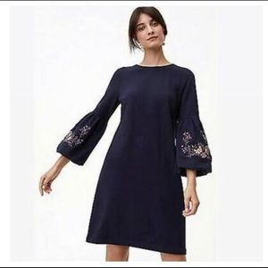 LOFT Embroidered Puff Sleeve Dress